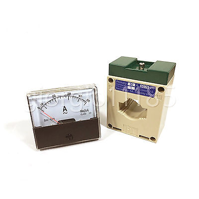US Stock Analog Panel AMP Current Meter Gauge DH670 50A AC & Current Transformer