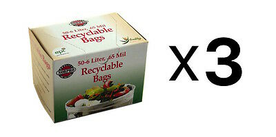 """Norpro Replacement COMPOST BAGS 50 Pack Recyclable Garbage 14"""" x 14"""" (3-Pack)"""