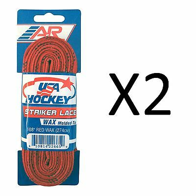 """A&R Striker Ice Hockey Waxed Skate Laces Pro Heavy Duty Lace Red 108"""" (2-Pack)"""