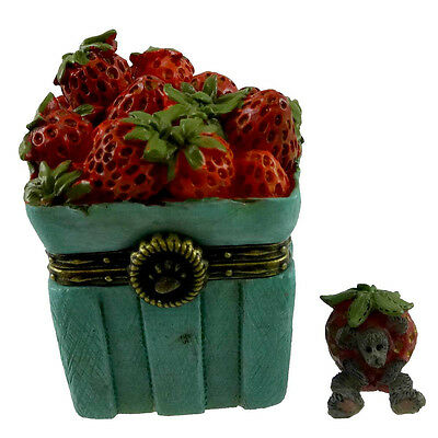 Boyds Bears Resin SWEETIE'S STRAWBERRY BASKET Polyresin Treasure Box 4033638