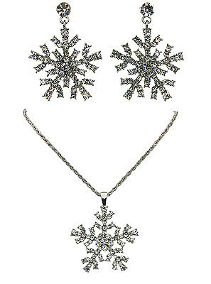 Snowflake Necklace Earrings Set Clear Frozen Christmas Holiday