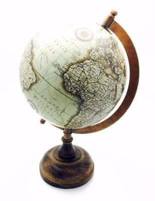 Vintage Style Medium Antique World Globe 25cm With Wooden Stand HM1182