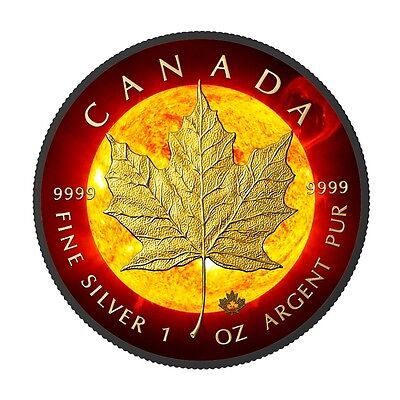 Canada 2016 5$ Black Maple Leaf  Solare Flare 2016 Black Ruthenium 1 Oz Silver C
