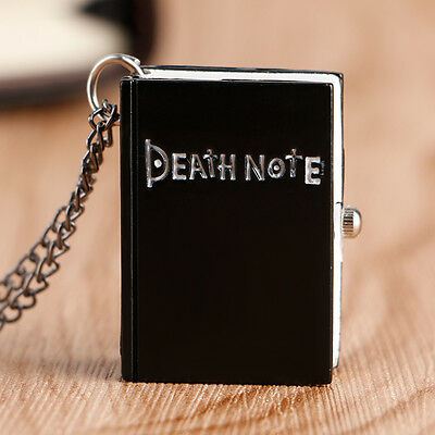 Fashion Retro Book Death Note Black Pocket Watch Necklace Pendant Steampunk Gift