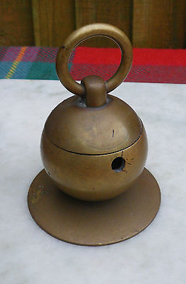 Antique Heavy Brass Round Desktop Inkwell With Large Loop Lid Handle
