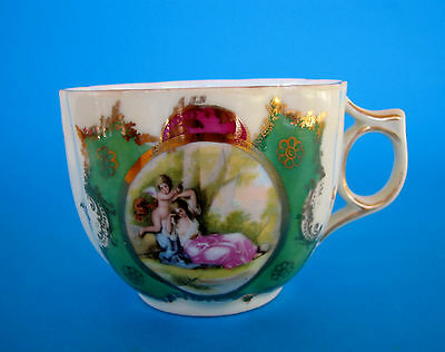 Antique Vintage Porcelain Moustache Cup Mug - Sleeping Woman & Cherub