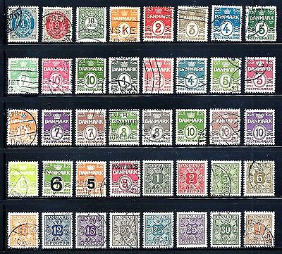 DENMARK Numeral Stamps Lot of 40