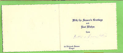 #a.  1951  Nsw Parliamentarian Seasons   Greeting Card From Coogee