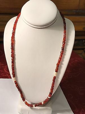 """Pre-Columbian Tairona Amber & White Excavation Beads Necklace 16 3/8"""""""