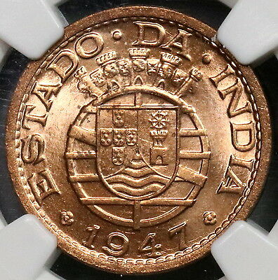 1947 NGC MS 65 RD INDIA 1 Tanga RED BU Portugal Colony.Coin (16111721C)