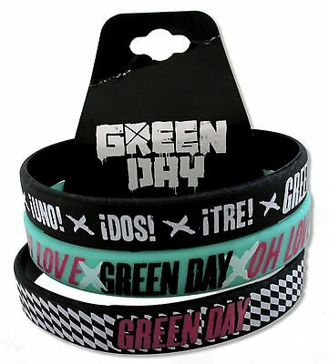 Green Day - 3 Piece Black Green Black Silicone Wristband New Nwt