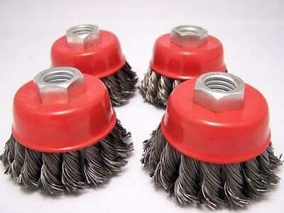 "4 x  2.5"" Knot Cup Brush 5/8-11nc angle grinder wire"