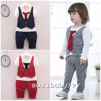Baby Clothes baby kids boys cotton fall outfits suit tops & pants gentleman tie