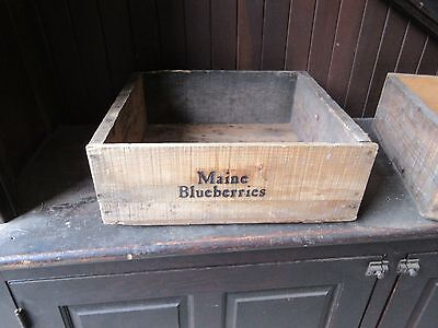 salvaged ANTIQUE WOODEN MAINE blueberry TRAY boxes STAMPED lettering 16 x 15 x 6
