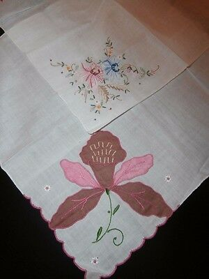 Two Superb Quality White Linen & Embroidery Ladies Handkerchiefs~ Floral