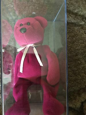 Ty New Face Teddy Magenta Authenicated Beautiful Condition