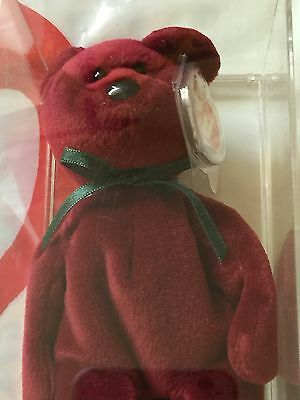 Ty New Face Teddy Cranberry Authenicated Beautiful 2nd Gen with Tags