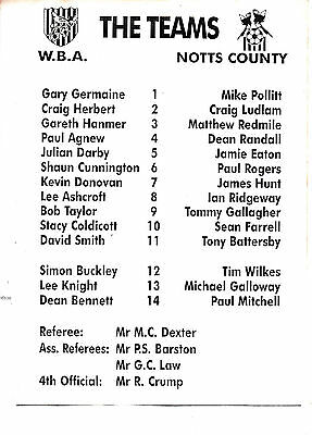 Teamsheet - West Bromwich Albion Reserves v Notts County Reserves (Undated)