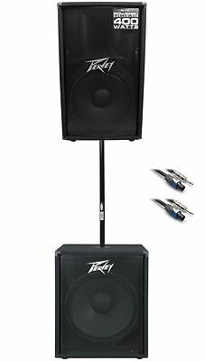 "Peavey PV115 15"" 800w PA Speaker+ PV118 18"" Subwoofer + Pole + Cable PV 115+118"