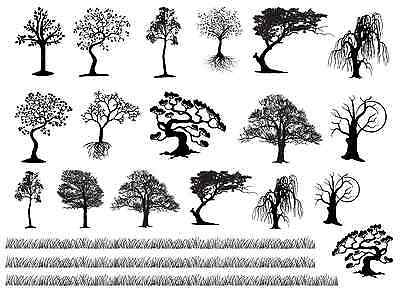 """Tree Variety Grass Strips 5""""X7"""" Card Black Fused Glass Decals 16CC764"""