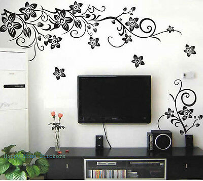 Black Butterfly Vine Pattern Vinyl Decal Wall Stickers Reusable & Repositionable