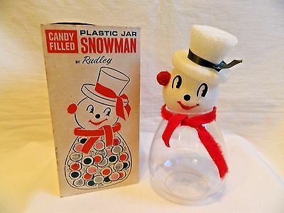Vintage Christmas Snowman Candy Jar in Box by Rudley