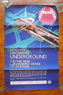 1977 New Charing Cross Station Original Railway Travel Poster Underground