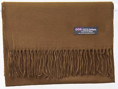 Free Shipping 100% Cashmere Winter Scarf Solid Brown Scotland Wool Wrap Men