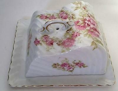 Beautiful, Antique Porcelain Cheese Dish, Pink Roses Decor. Handled Lid, & Tray