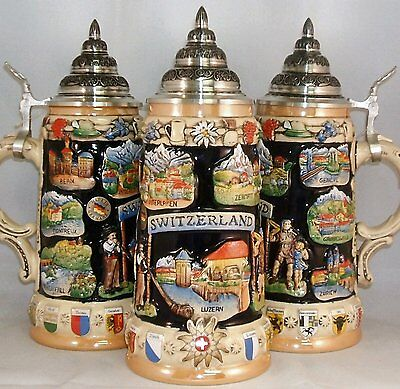 Switzerland Swiss Panorama LE German Beer Stein .75L One Mug Made in Germany New