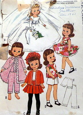 """GREAT VTG 1960s 8 1/2"""" DOLL CLOTHING SEWING PATTERN"""