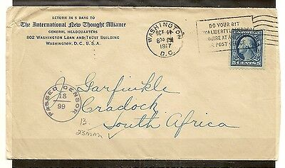 U.S. 1917 Censored Cover to South Africa