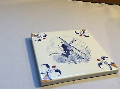 """Blue and White Tile Trivet Windmill Water Houses Delft Blue Handpainted 5 3/8"""""""