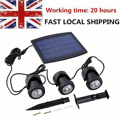 20 hours Outdoor Solar Powered LED White Spotlight Garden Pool Pond Yard Light