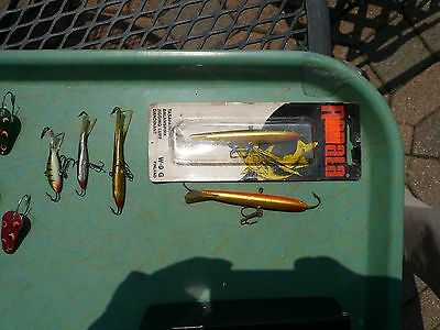 """Lot 5 Rapala Ice Fishing Lures Jigs  Cool Colors, 2 Largest Body 3"""" W-9 Or/gold"""