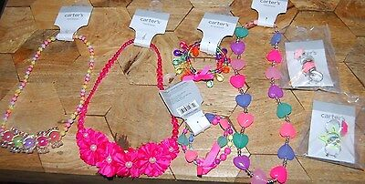 New Carter's LOT OF 3 Necklace & 2 Bracelets & 6 RINGS CHILD JEWWELRY