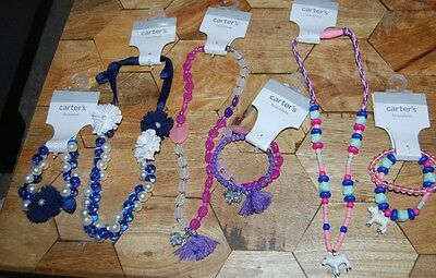 New Carter's LOT OF 3 Necklace & 3 Bracelets matching LAMB BUNNY FLOWER CHILD