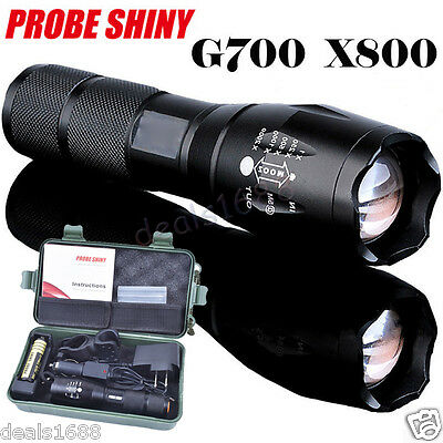 8000LM XML T6 LED Tactical Police Military Flashlight+18650 Battery+Charger+Case