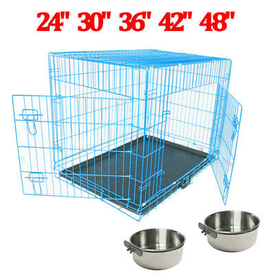 "24"" 30"" 36"" 42"" 48"" Dog Cage Crate Puppy Training Folding Carrier Feeding Bowls"