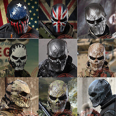 Tactical Full Face Skull Mask Outdoor War Game Airsoft Paintball Protection Gear