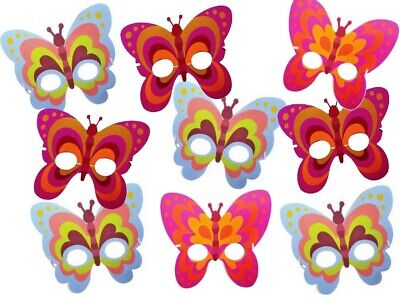 Girls Butterfly Dress Up Foam Masks - Fancy Dress Party Bag Fillers Face Mask