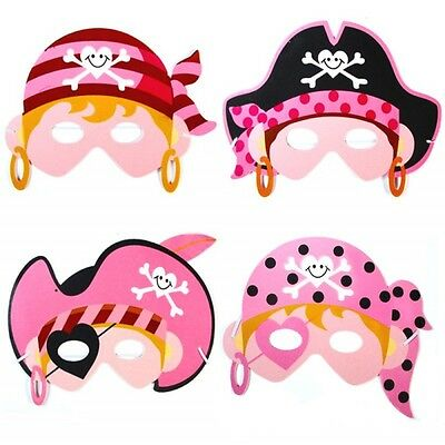 Girls Pink Pirate Dress Up Foam Masks - Fancy Dress Party Bag Fillers Face Mask