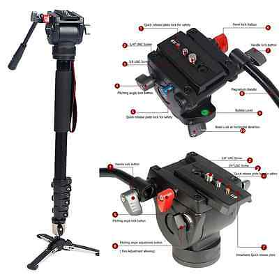 Professional Heavy Duty Fluid Monopod Head kit video cameras Camcorder 72 inth