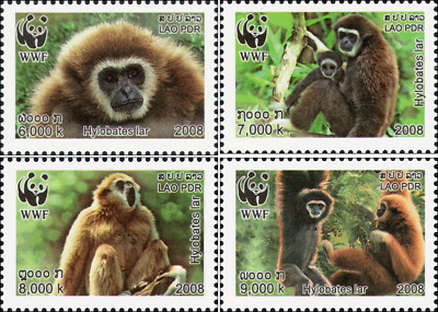 Worldwide Nature Conservation: Handed Gibbon -PAIR- (MNH)