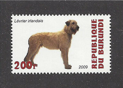 Dog Art  Photo Head Body Portrait Postage Stamp IRISH WOLFHOUND Burundi 2009 MNH