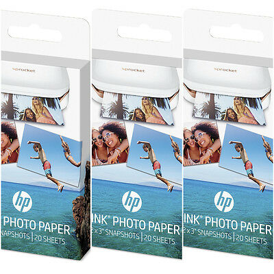 """HP ZINK Sprocket Photo Paper for Sprocket Printer 2"""" x 3"""" 60 Count 3 Boxes of 20"""