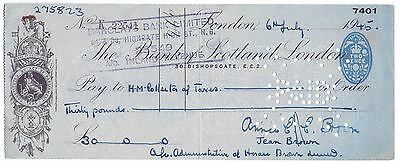 Used Cheque,The Bank of Scotland,London 1942     (P4)