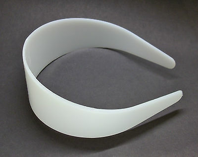 "12 White Plastic Headbands 50mm 2"" Bulk Head Hair Band Unfinished Craft DIY"