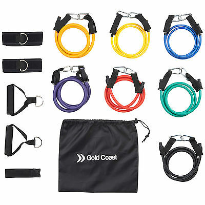 Gold Coast Resistance Bands Fitness Workout Exercise Tubes Set of 7 with Bag