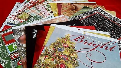 20 - 12x12 Christmas Holiday Paper Crafting Scrapbook Paper Cardstock
